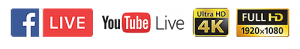 Facebook Live, Youtube Live ,4K - FullHD - HD Live streaming